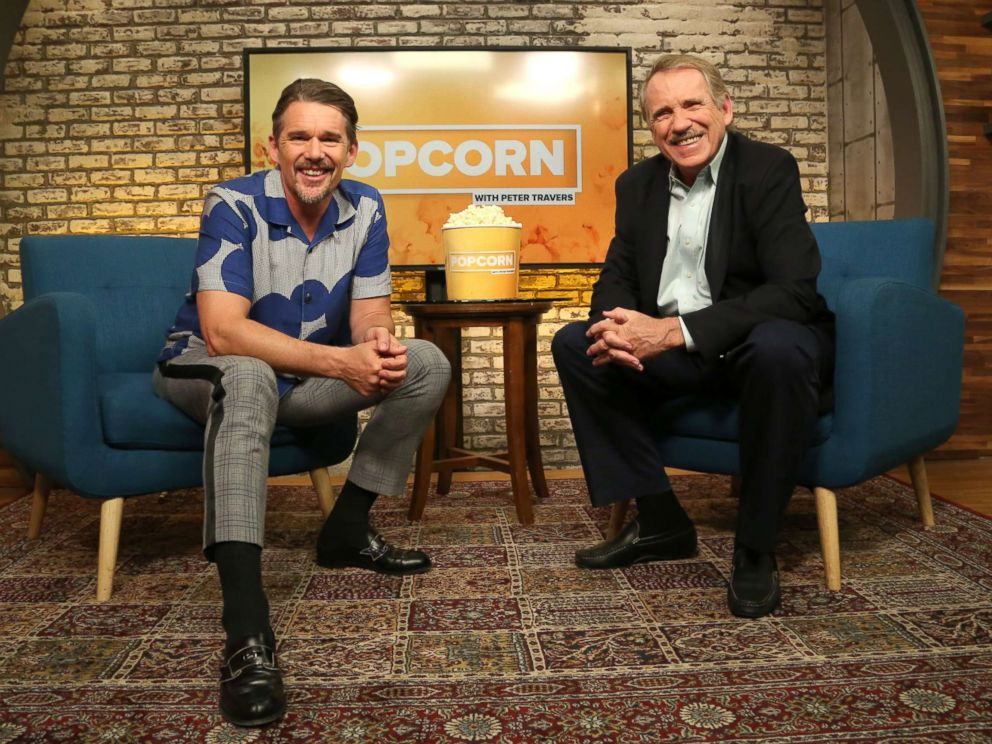 PHOTO: Ethan Hawke appears on Popcorn with Peter Travers at ABC News studios in New York City, Sept. 5, 2018.