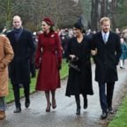 Prince William and Kate, Duchess of Cambridge, walk with Prince Harry and Meghan, Duchess of Sussex, and the princes' father, Prince Charles, as they attend Christmas morning service at Sandringham Church on Tuesday, Dec. 25, 2018.