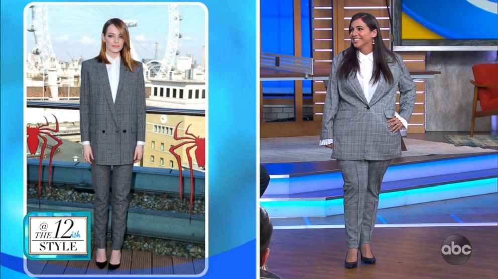 A model wears an outfit similar to Emma Stone (in left photo) for a segment on GMA with fashion blogger Katie Sturino on celebrity-inspired fashion for sizes 12+.