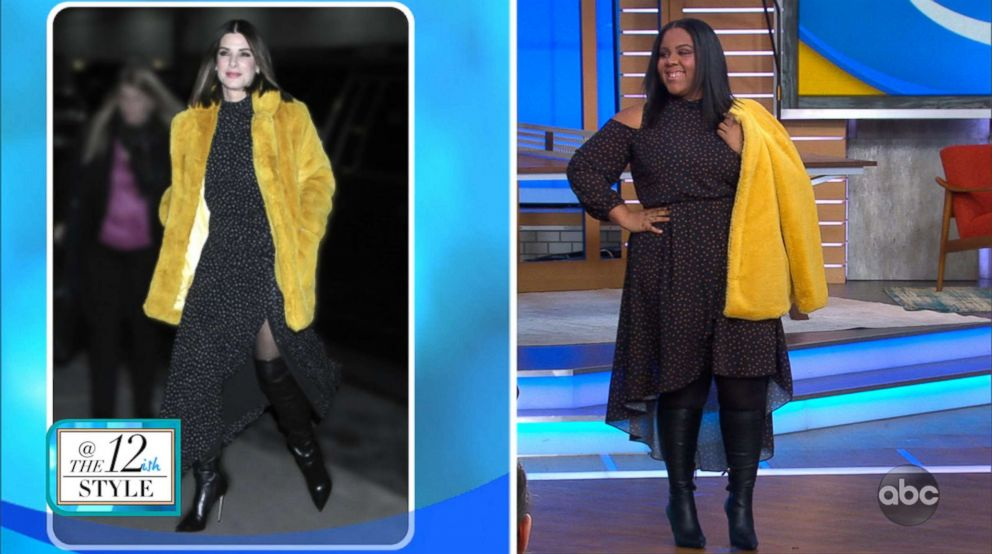 A model wears an outfit similar to Sandra Bullock (in left photo) for a segment on GMA with fashion blogger Katie Sturino on celebrity-inspired fashion for sizes 12+.