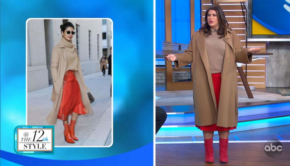 A model wears an outfit similar to Priyanka Chopra (in left photo) for a segment on GMA with fashion blogger Katie Sturino on celebrity-inspired fashion for sizes 12+.