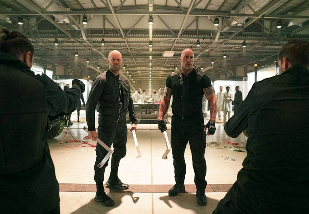 PHOTO: Jason Statham, left, as Deckard Shaw, and Dwayne Johnson, as Luke Hobbs, in a scene from Fast & Furious Presents: Hobbs & Shaw.