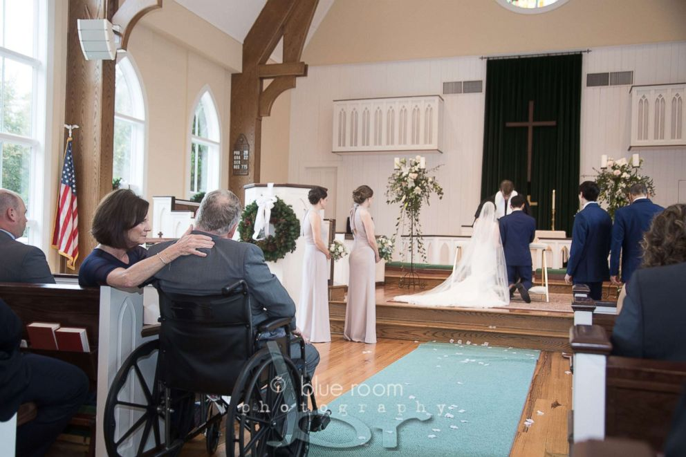 PHOTO: Mary Bourne Butts and her dad, Jim Roberts, performed a tearful first dance to the song I Hope You Dance by Lee Ann Womack.
