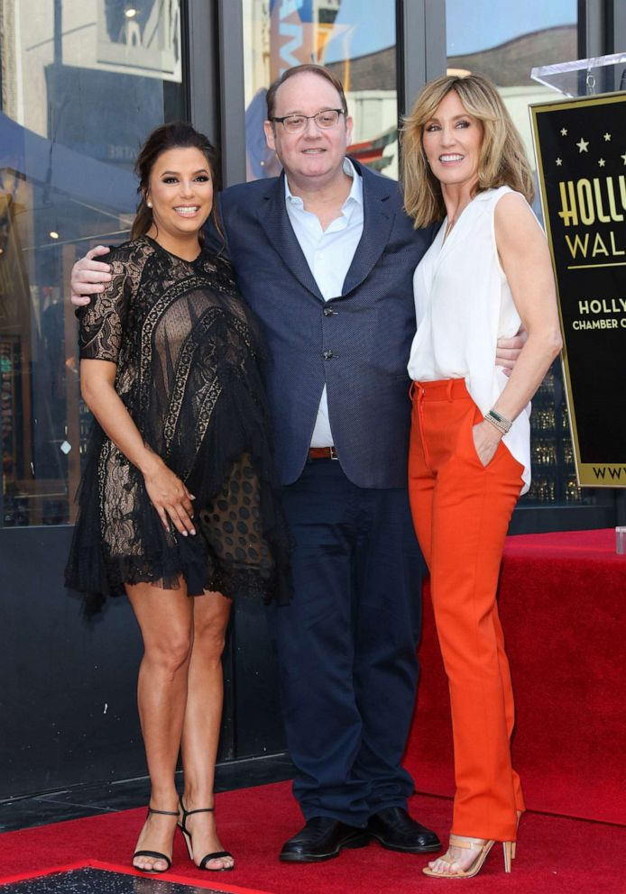 PHOTO: Eva Longoria, Marc Cherry and Felicity Huffman attend the ceremony to honor Eva Longoria with a Star on The Hollywood Walk Of Fame on April 16, 2018, in Hollywood.