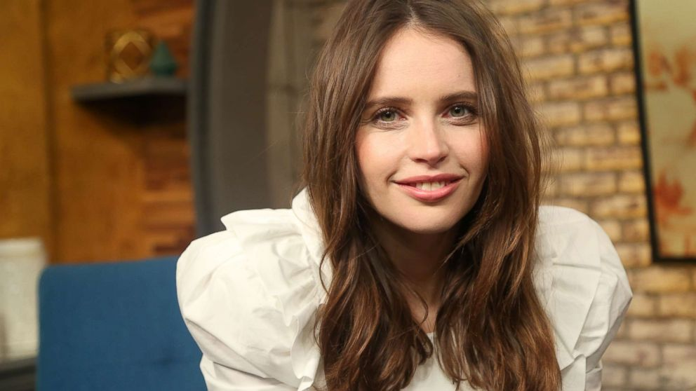 """Felicity Jones appears on """"Popcorn with Peter Travers"""" at ABC News studios in New York City, Dec. 13, 2018."""