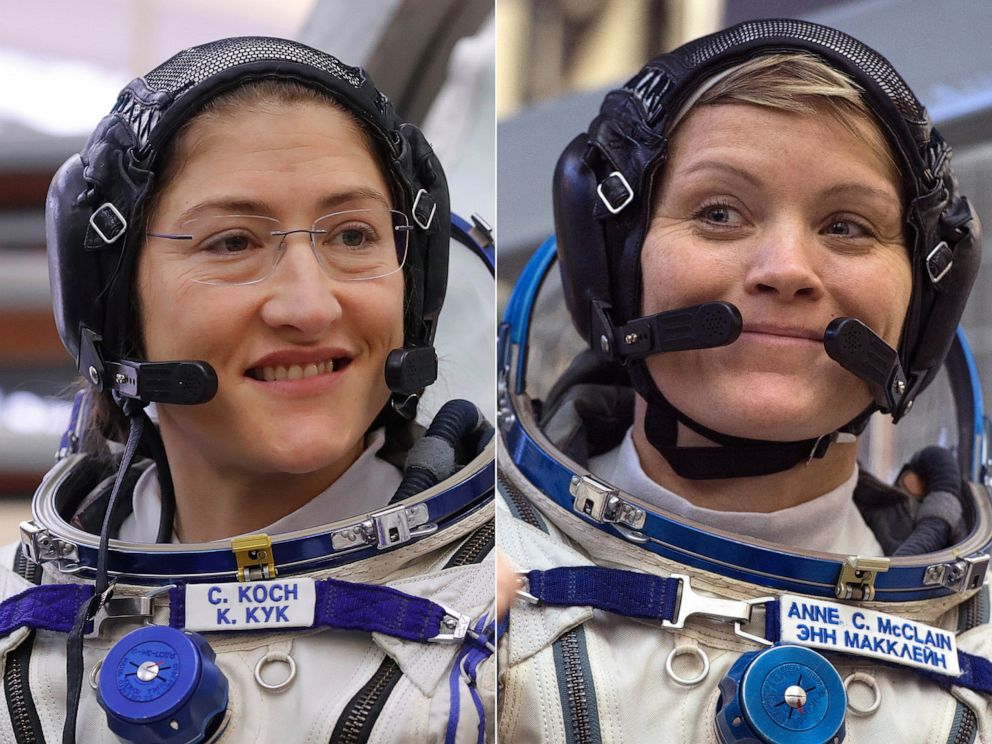 PHOTO: NASA astronauts Christina Koch, left, and Anne McClain, Star City near Moscow, Russia, during their training for their upcoming mission which will include the first-ever all-female spacewalk.