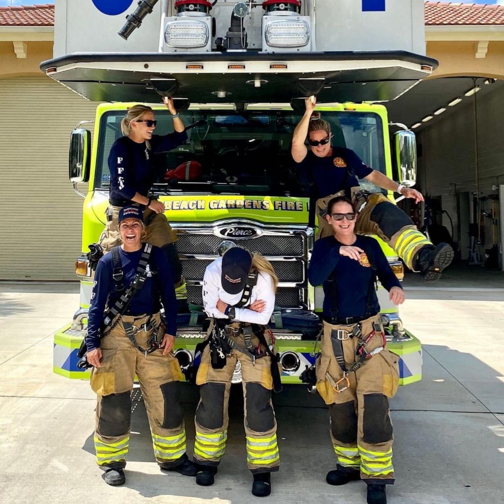 PHOTO: Krystyna Krakowski, Kelsey Krzywada , Julie Dudley, Captain Monica Marzullo and Sandi Ladewski pose in a photo as the first all-female fire crew in Palm Beach Gardens Fire Rescue's 57-year history.