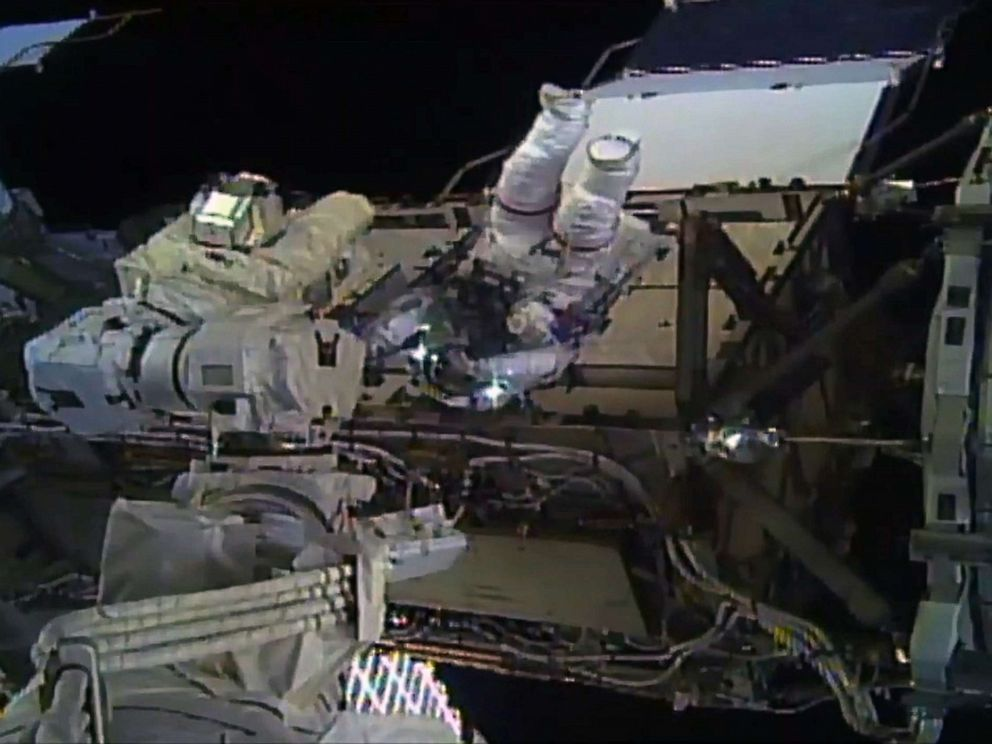 PHOTO: Astronaut Christina Koch during her spacewalk outside the International Space Station on Oct. 18, 2019.