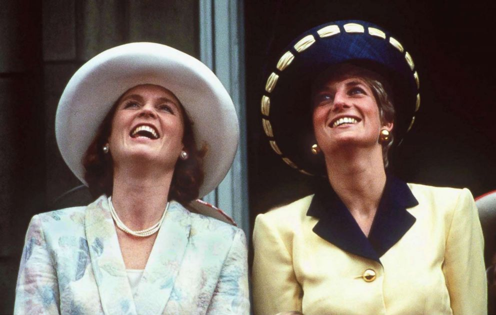 PHOTO: Sarah Ferguson, Duchess of York, joins Diana, Princess of Wales, on the balcony of Buckingham Palace to view the Trooping the Colour ceremony in June 1991.