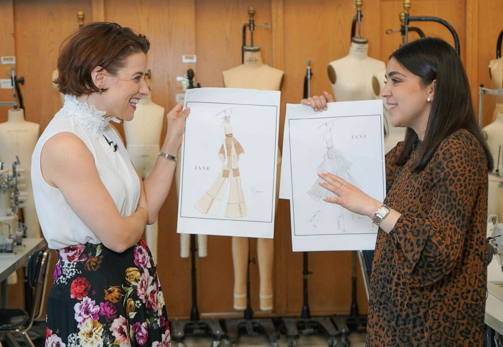 PHOTO: Jenn Gambatese (Jane, OBC Tarzan) and Marianna Gonzalez (FIT student) review design sketches for Jane inspired garments.