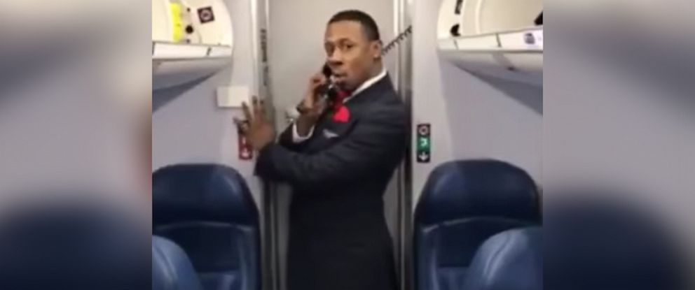 """PHOTO: Marcus Gindrow, a member of Endeavor Airs flight crew, recorded his """"Toxic"""" dance on March 31 during a layover in Atlanta, Georgia."""