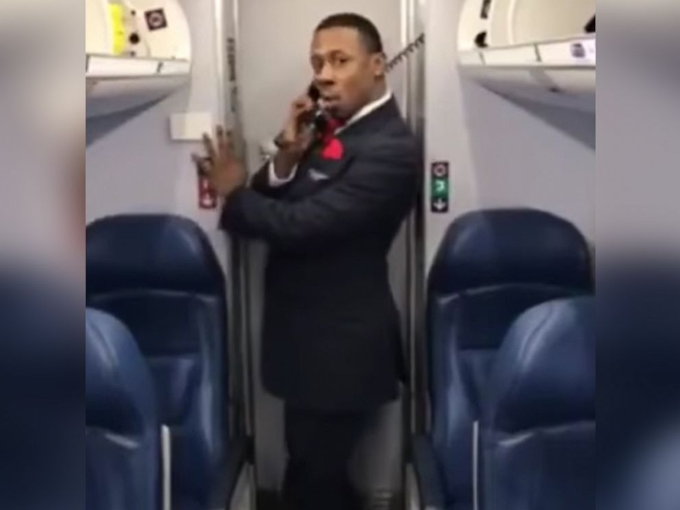 PHOTO: Marcus Gindrow, a member of Endeavor Airs flight crew, recorded his Toxic dance on March 31 during a layover in Atlanta, Georgia.