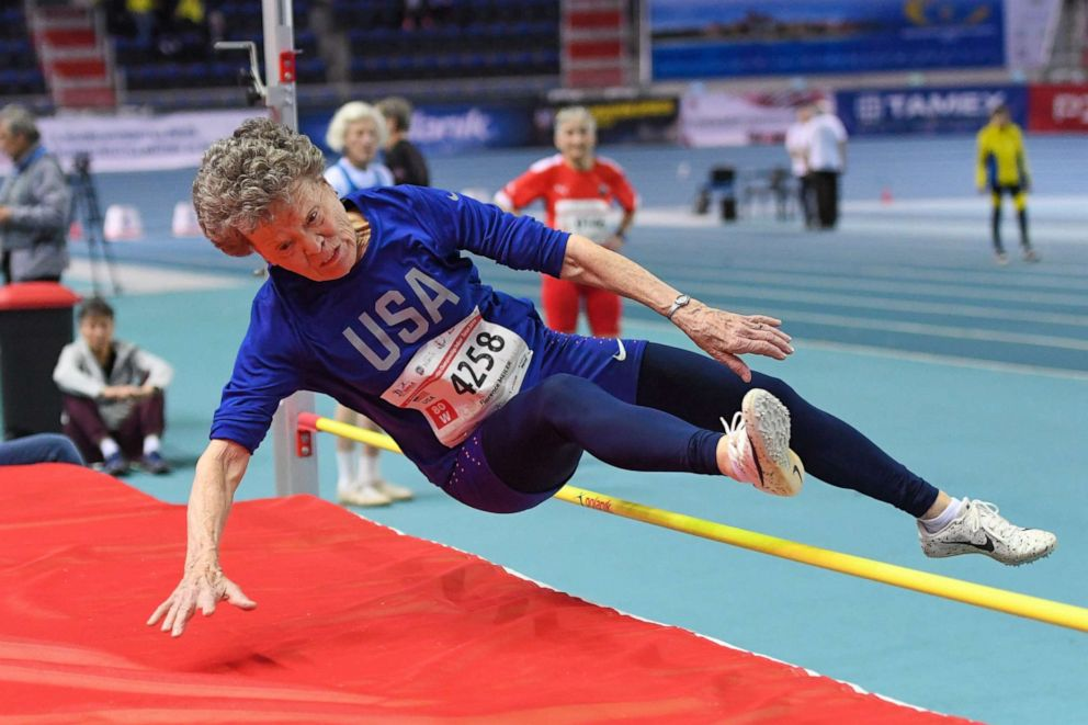 Flo Filion Meiler, 84, recently won gold in pole vault, pentathlon, high jump and hurdles at the indoor World Masters Athletics Championships.