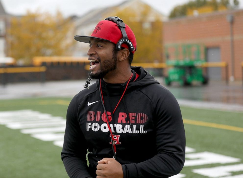PHOTO: Hughes High School football coach Chris Mobley is pictured at a team practice in Cincinnati, Ohio.