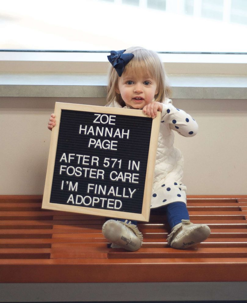 Hannah Page, 1, was adopted on Dec. 28, 2018, in Colorado.