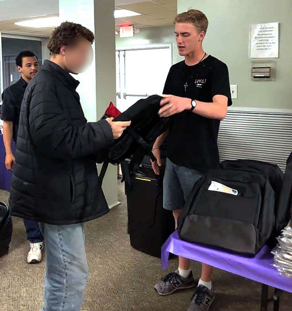 PHOTO: Hunter Beatons programs also gives bags to people who have aged out of the foster care system.
