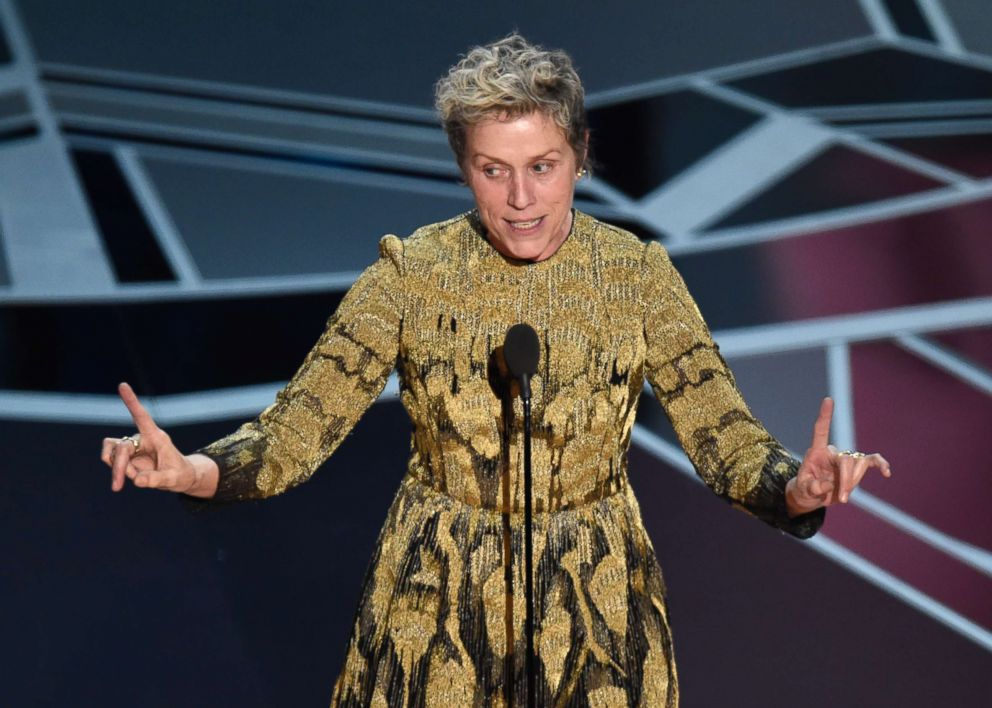 PHOTO: Frances McDormand accepts the award for best performance by an actress in a leading role for Three Billboards Outside Ebbing, Missouri at the Oscars, March 4, 2018, at the Dolby Theatre in Los Angeles.