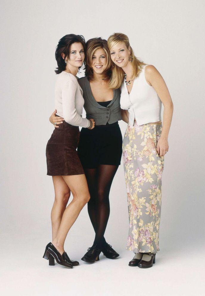 PHOTO: Courteney Cox as Monica Geller, Jennifer Aniston as Rachel Green, Lisa Kudrow as Phoebe Buffay in Friends, circa 1995.