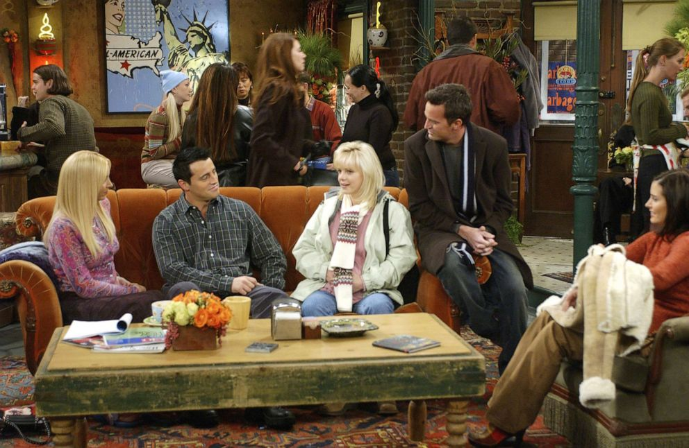 PHOTO: From left, Lisa Kudrow as Phoebe Buffay, Matt LeBlanc as Joey Tribbiani, Anna Faris as Erica, Matthew Perry as Chandler Bing, Courteney Cox as Monica Geller-Bing appear in an episode of Friends.