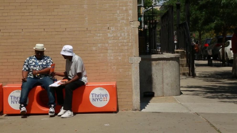 PHOTO: The Friendship Bench offers peer-to-peer mental health conversations on benches in New York City.