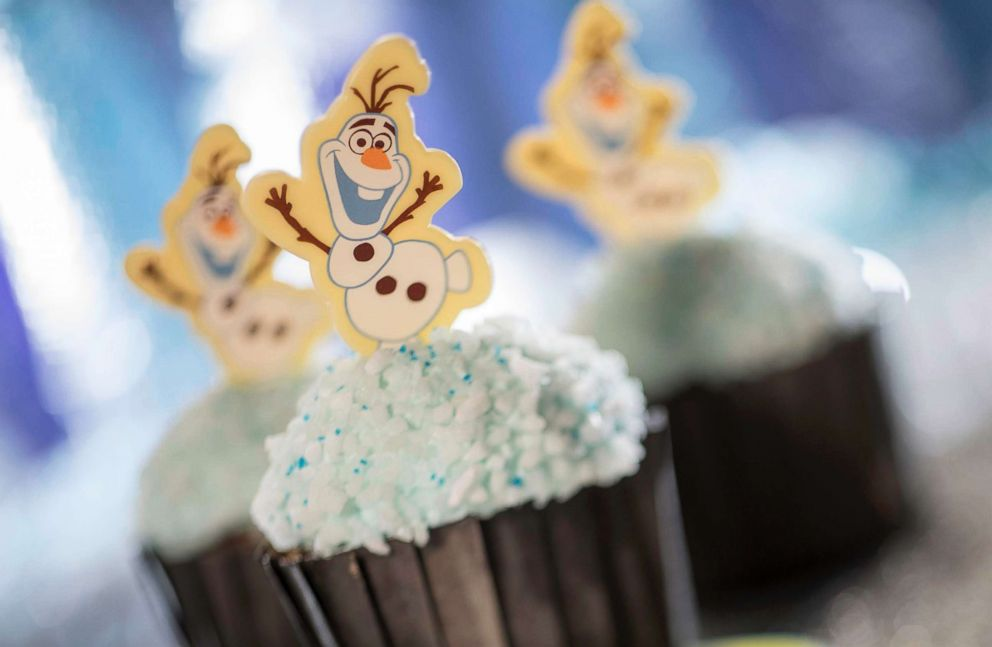 PHOTO: An Olaf Cupcake made of chocolate with buttercream frosting available at ABC Commissary and Backlot Express.