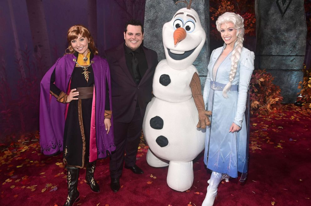 PHOTO: Anna, Actor Josh Gad, Olaf, and Elsa attend the world premiere of Disneys Frozen 2 at Hollywoods Dolby Theatre on Thursday, November 7, 2019 in Hollywood, California.