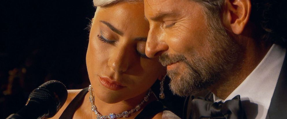 """PHOTO: Lady Gaga and Bradley Cooper perform the song """"Shallow"""" from the film, """"A Star is Born,"""" during the 91st annual Academy Awards in Los Angeles, Feb. 24, 2019."""