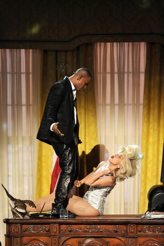 "In this Nov. 24, 2013 file photo, Lady Gaga, right, and R. Kelly perform ""Do What U Want (With My Body)"" at the American Music Awards in Los Angeles."
