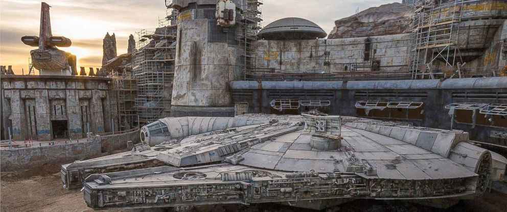PHOTO: The completed Millennium Falcon sits amid Star Wars: Galaxys Edge buildings still under construction at Disneyland in this image released in December 2018.