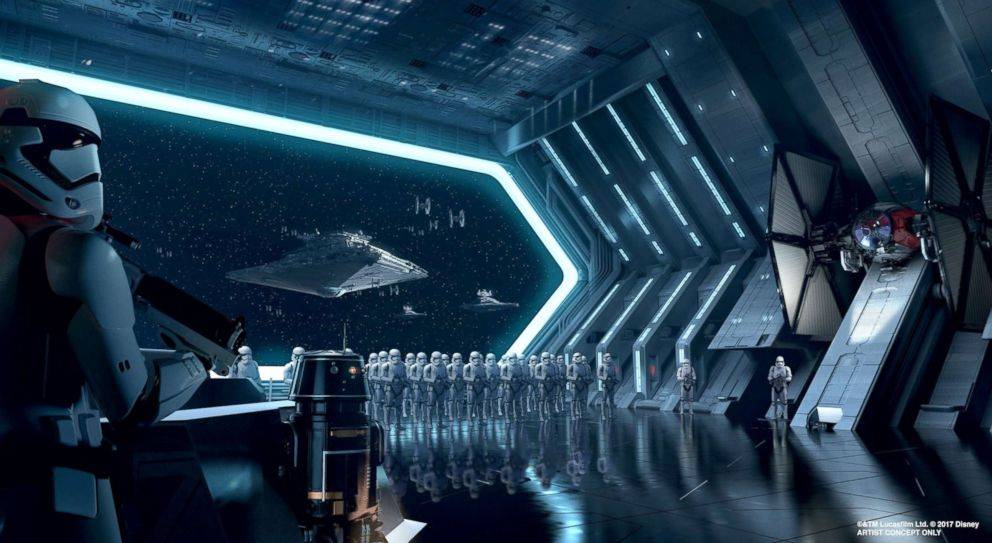 PHOTO: Artist rendering of a massive hangar inside a First Order Star Destroyer, part of the Rise of the Resistance attraction at Star Wars: Galaxys Edge.