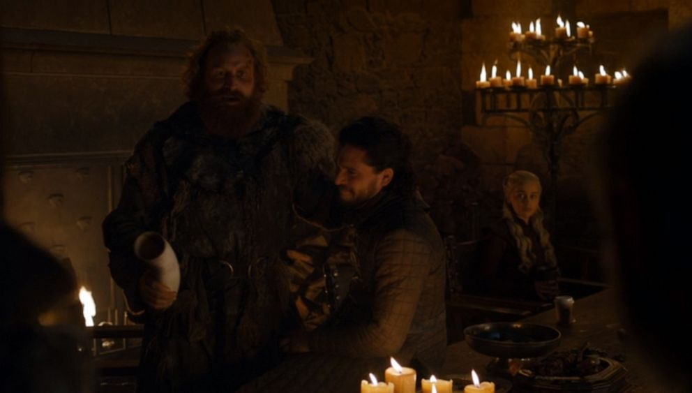 PHOTO: An image made from the fourth episode of season eight of HBOs, Game of Thrones, appears to show a modern coffee cup sitting on a table in a scene featuring Kristofer Hivju, Kit Harington and Emilia Clarke.