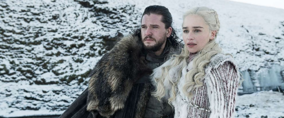 """PHOTO: Kit Harington and Emilia Clarke in a scene from """" Game of Thrones."""""""