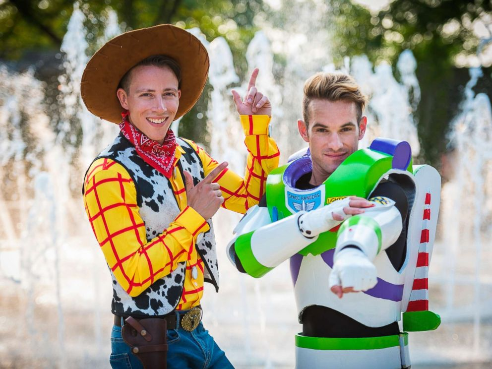PHOTO: Garrett Smith and Jason Bitner requested their wedding guests arrive dressed as beloved Disney characters.