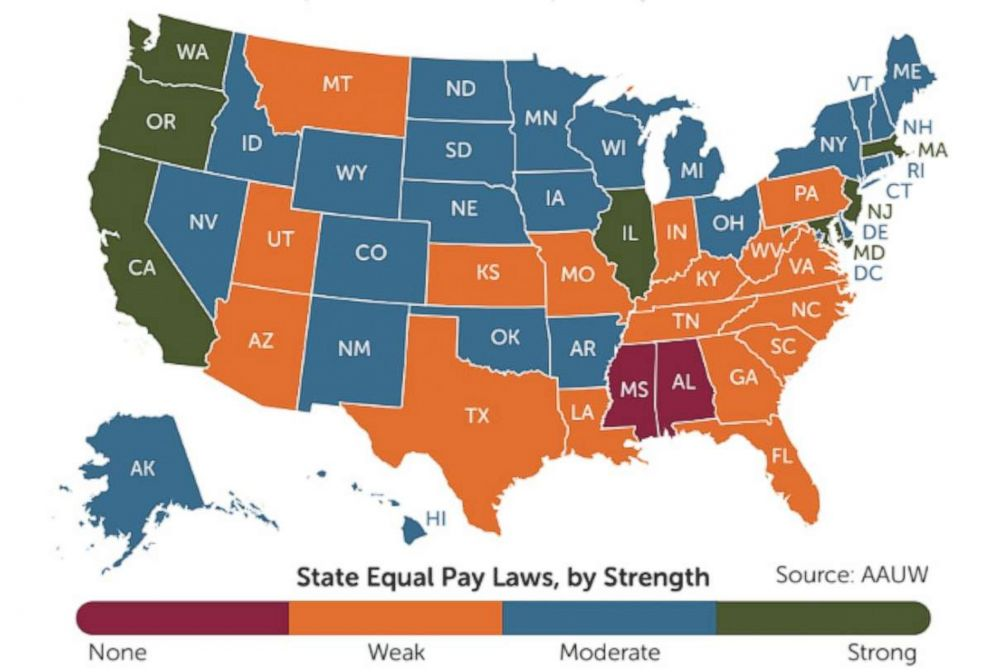 PHOTO: The varying strengths of state equal pay laws are shown in this graphic.