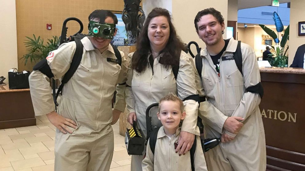 """London, 5, poses in his """"Ghostbusters"""" costume."""