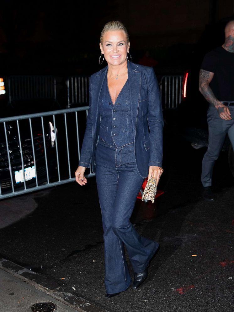 PHOTO: Yolanda Hadid arrives at Gigi Hadids birthday party on April 22, 2019, in New York.