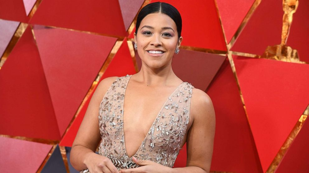 Gina Rodriguez arrives for the 90th Annual Academy Awards on March 4, 2018, in Hollywood, Calif.