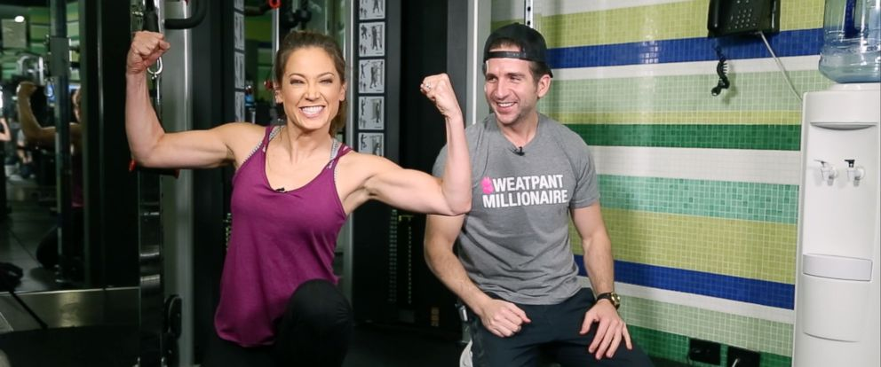 PHOTO: Ginger Zee, pictured with her trainer Mark Langowski, worked towards getting stronger in the new year for her January Challenge.