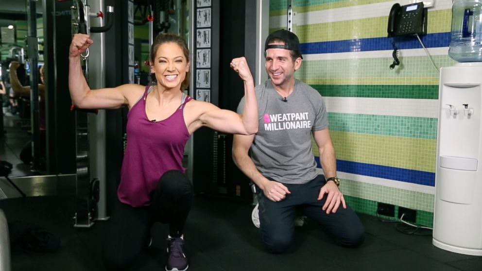 Ginger Zee, pictured with her trainer Mark Langowski, worked towards getting stronger in the new year for her January Challenge.