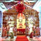 A life-size gingerbread house is on display at Westin Austin's Stella San Jac restaurant.