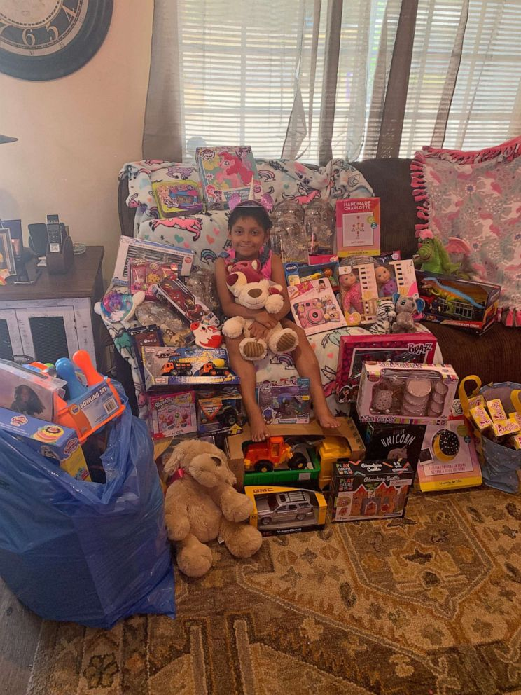 PHOTO: In lieu of birthday gifts, Zoe Figueroa, 8, collected $750 in charity donations and 200 toys for her friends who are still in the hospital.