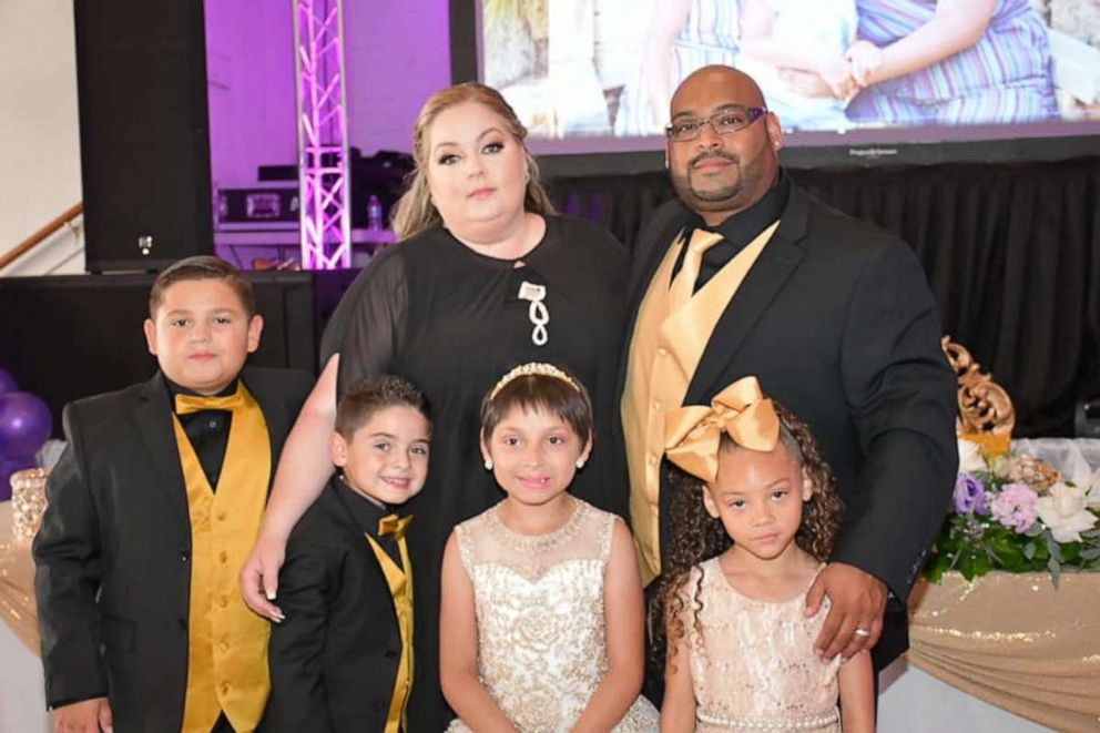 PHOTO: Zoe Figueroa, 8, is seen in San Diego, California, at a party celebrating her birthday and being cancer-free. She poses beside her parents, Sheena and Freddie Figueroa, and brothers Zach, 11 and Zayden, 7 and sister Zandrea, 5.