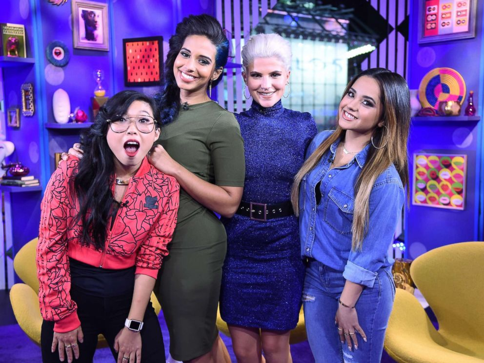 PHOTO: Rapper Awkwafina, TV personality Nessa, comedian Carly Aquilino, and singer-songwriter Becky G perform on MTVs Girl Code Live at MTV Studios, Oct. 5, 2015, in New York.