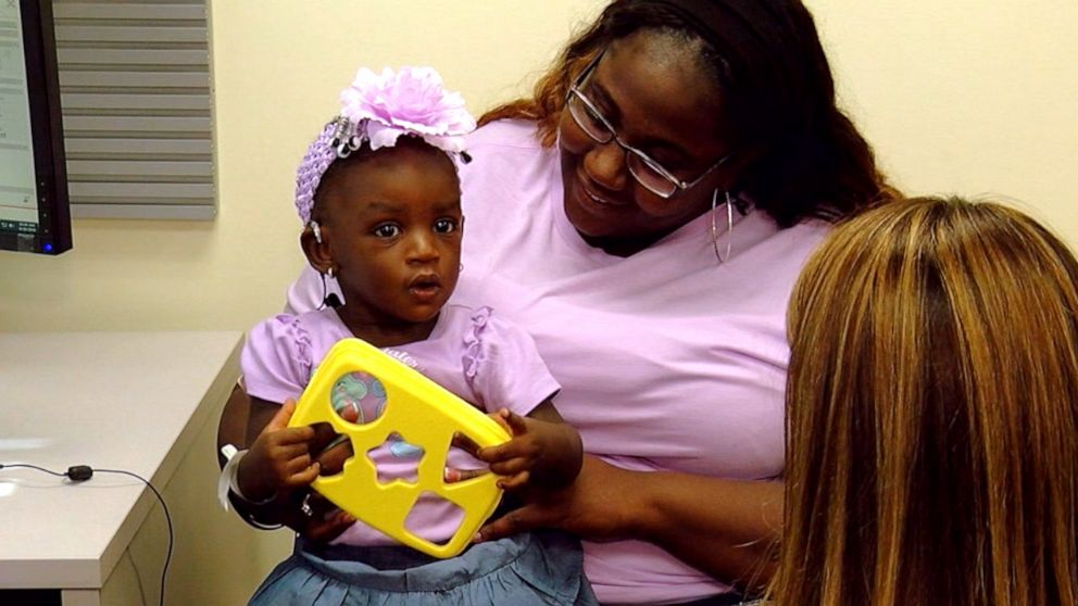 PHOTO: The moment deaf toddler Adeja Rivers, 1, hears for the first time after receiving cochlear implants was caught on video.