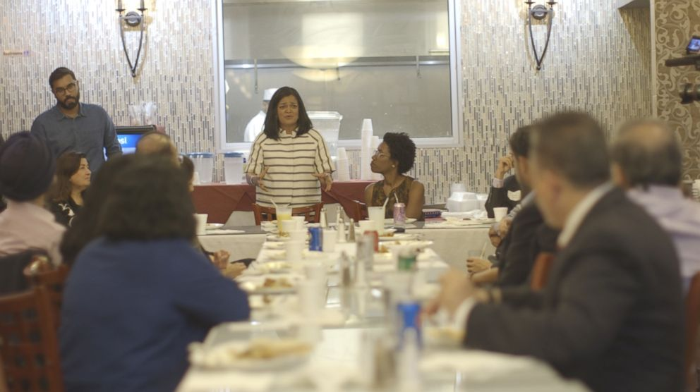 PHOTO: Democratic congressional candidate Lauren Underwood and Rep. Pramila Jayapal host a roundtable near Naperville, Illinois.