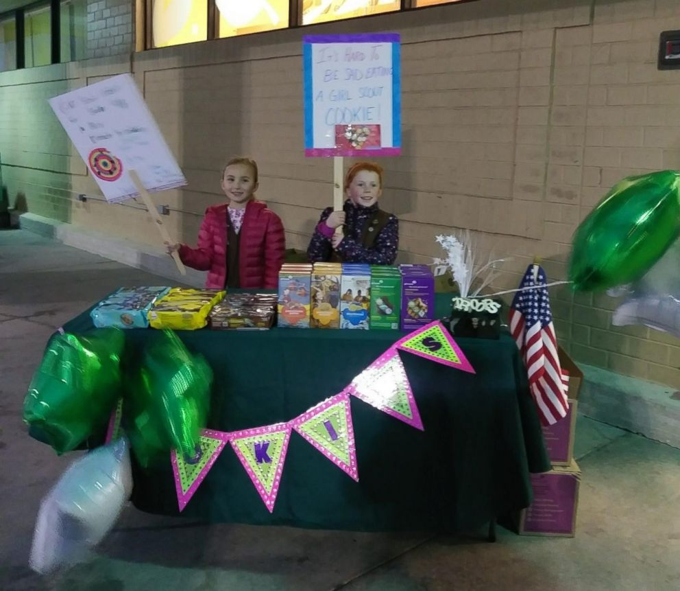 PHOTO: Emerson Ludwig and Maya Andrews sold all their Girl Scout cookies in front of Bilo grocery store in Mauldin, S.S., Feb. 22., 2019.