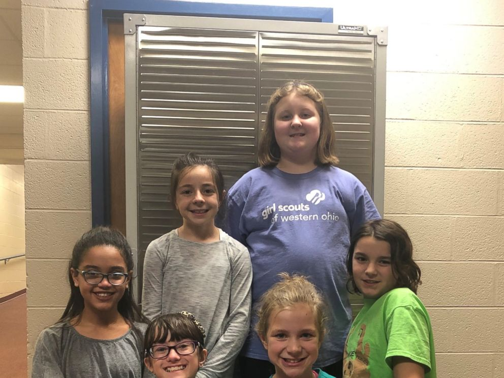PHOTO: Girl Scouts from Western Ohio helped install a locker for feminine hygiene products at their school.