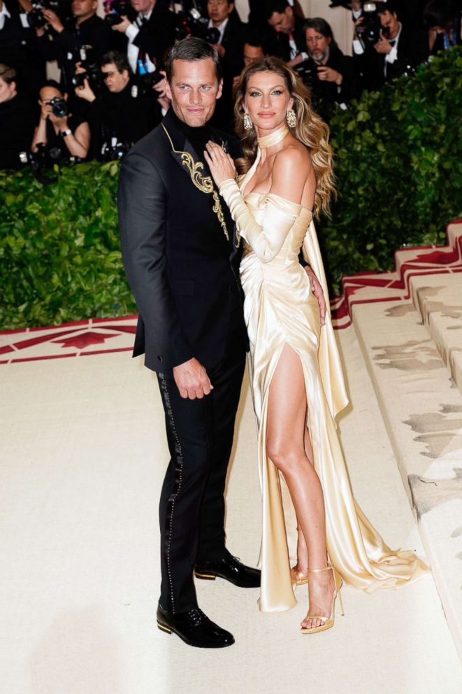 PHOTO: Gisele Bundchen and Tom Brady attend the Heavenly Bodies: Fashion & The Catholic Imagination Costume Institute Gala at Metropolitan Museum of Art, May 7, 2018, in New York City.