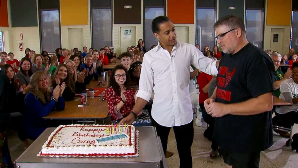 PHOTO: ABCs T.J. Holmes was there for the presentation of a birthday cake for Greg Bailie, the Bay High School culinary director, whos been leading the charge and setting an example of resilience for the students.