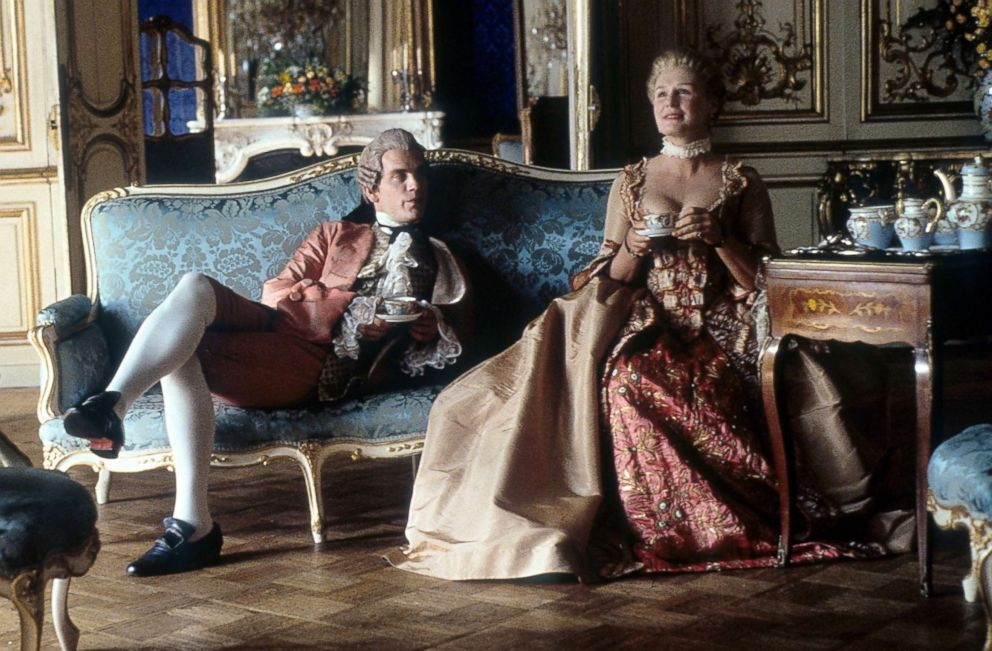 PHOTO: John Malkovich and Glenn Close having tea together in a scene from the 1988 film Dangerous Liaisons.